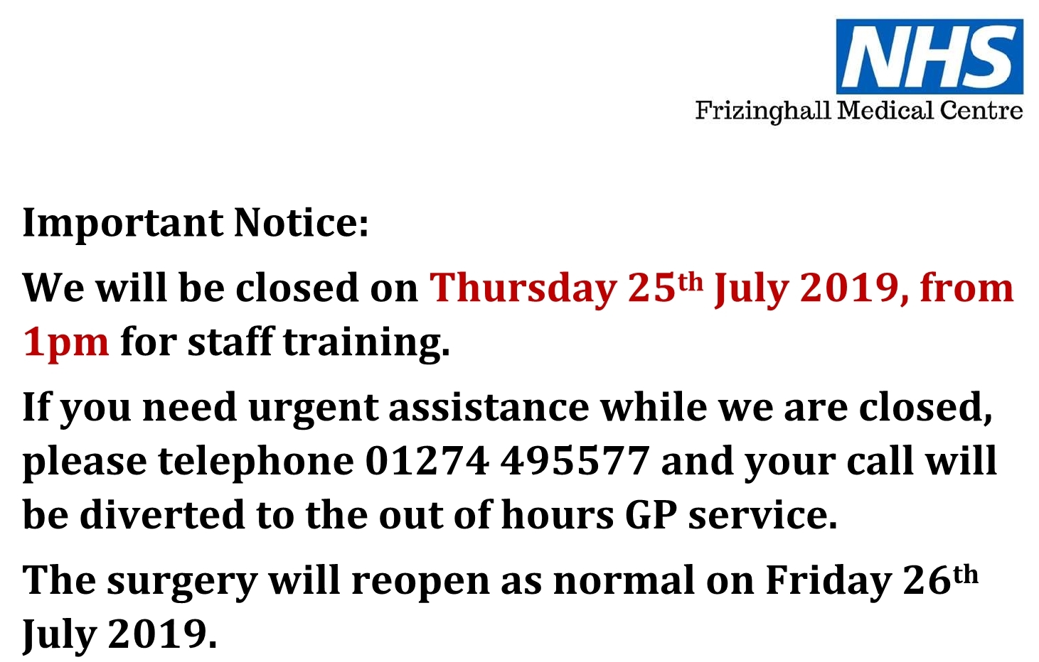 Closing on Thursday 25th July 2019